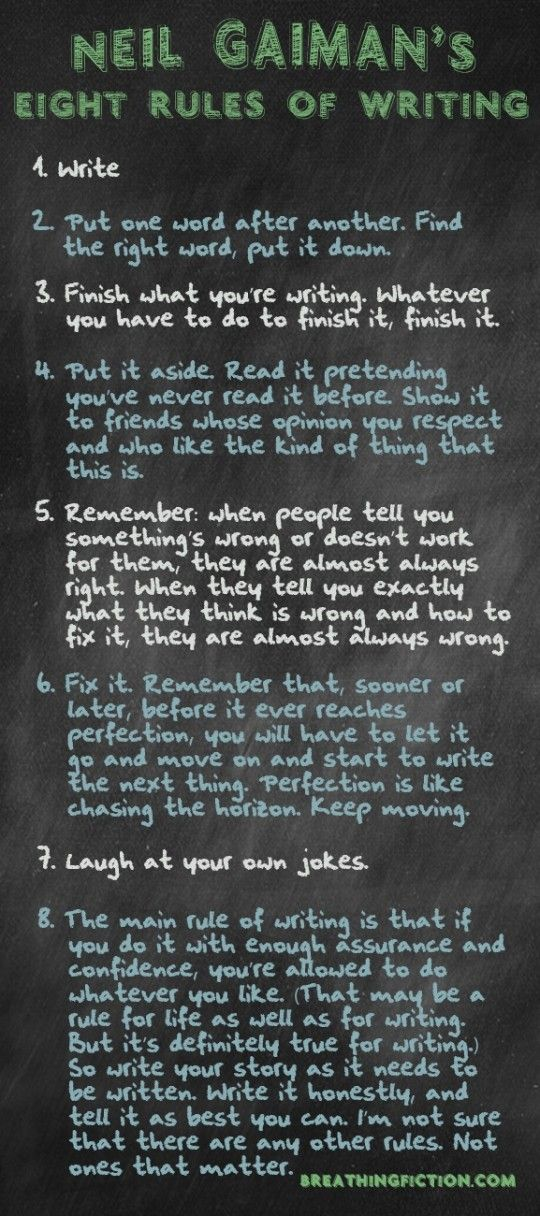 Neil Gaiman 8 Rules of Writing